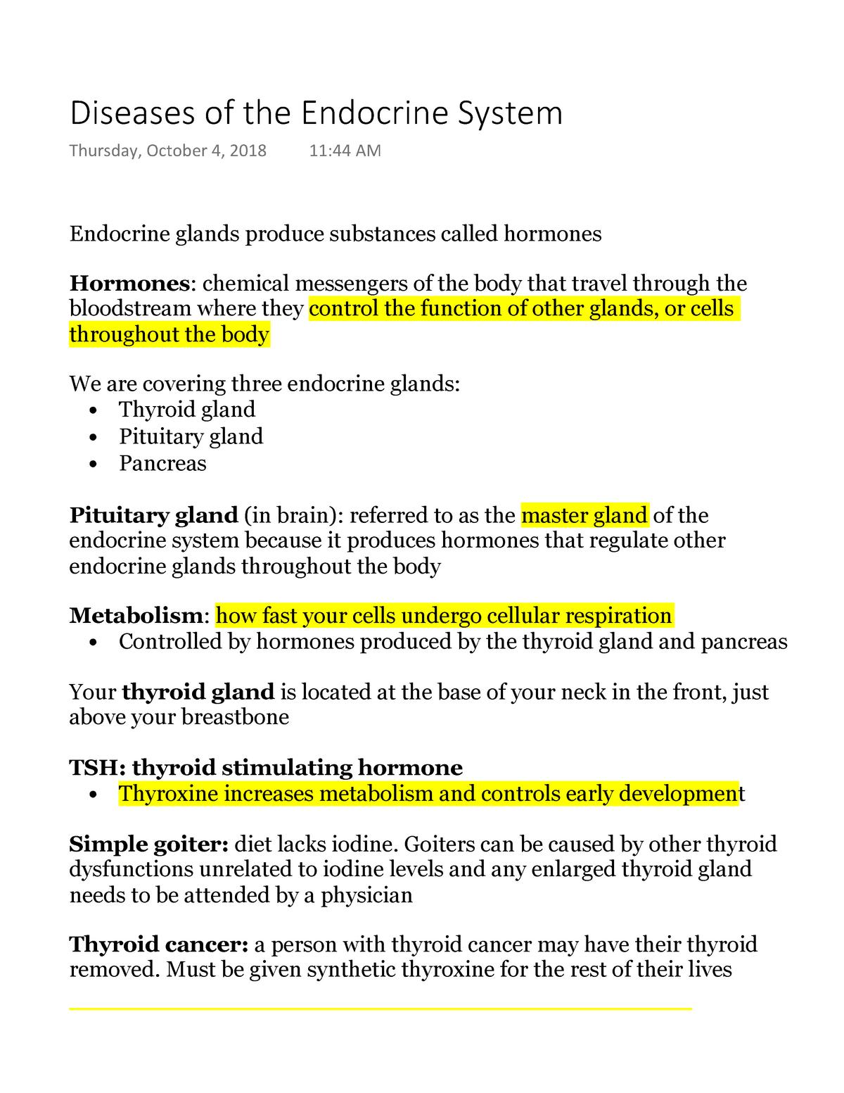 Diseases Of The Endocrine System Biol 10003 Tcu Studocu