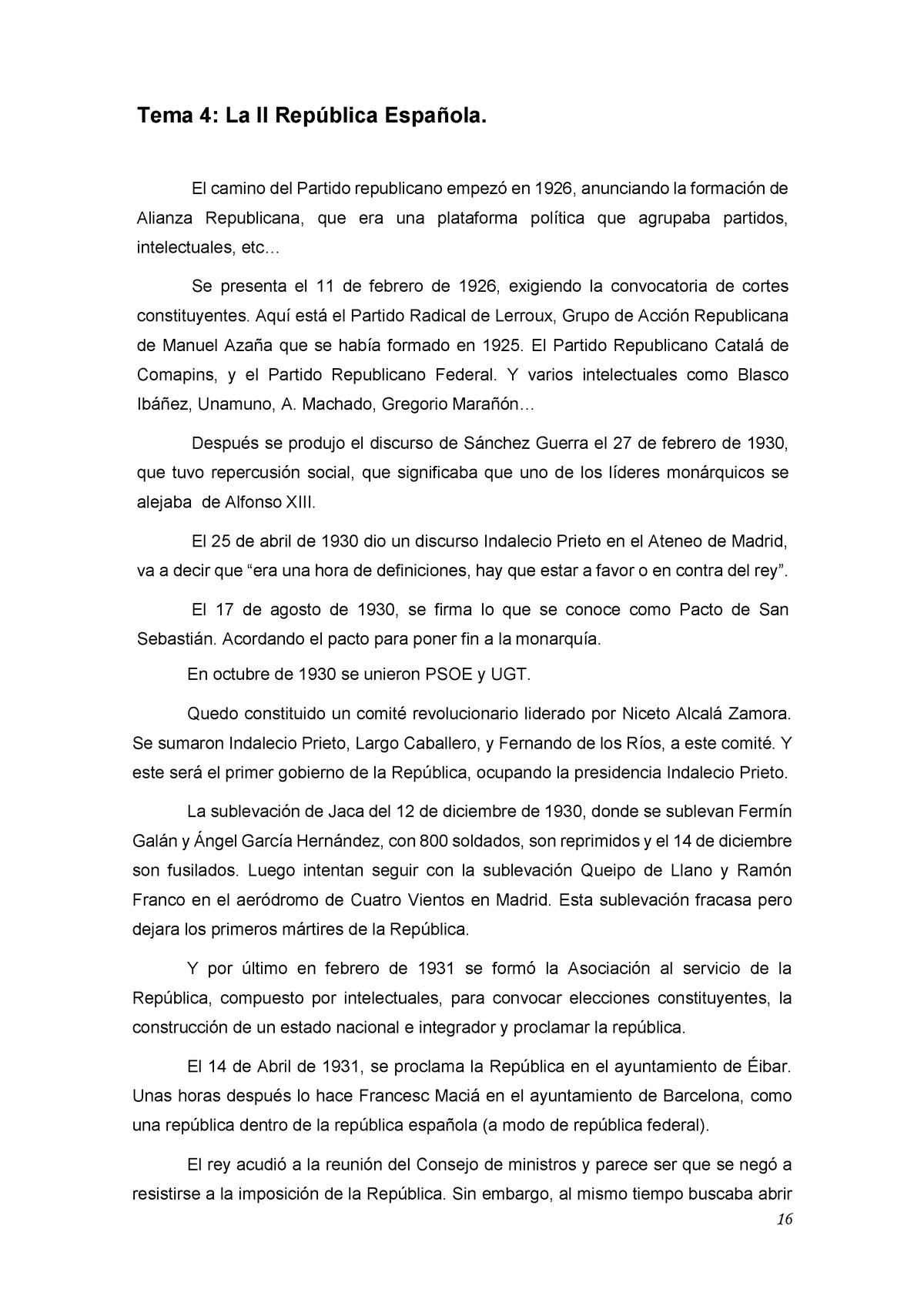 Tema 4 - La II República Española - 66224: España