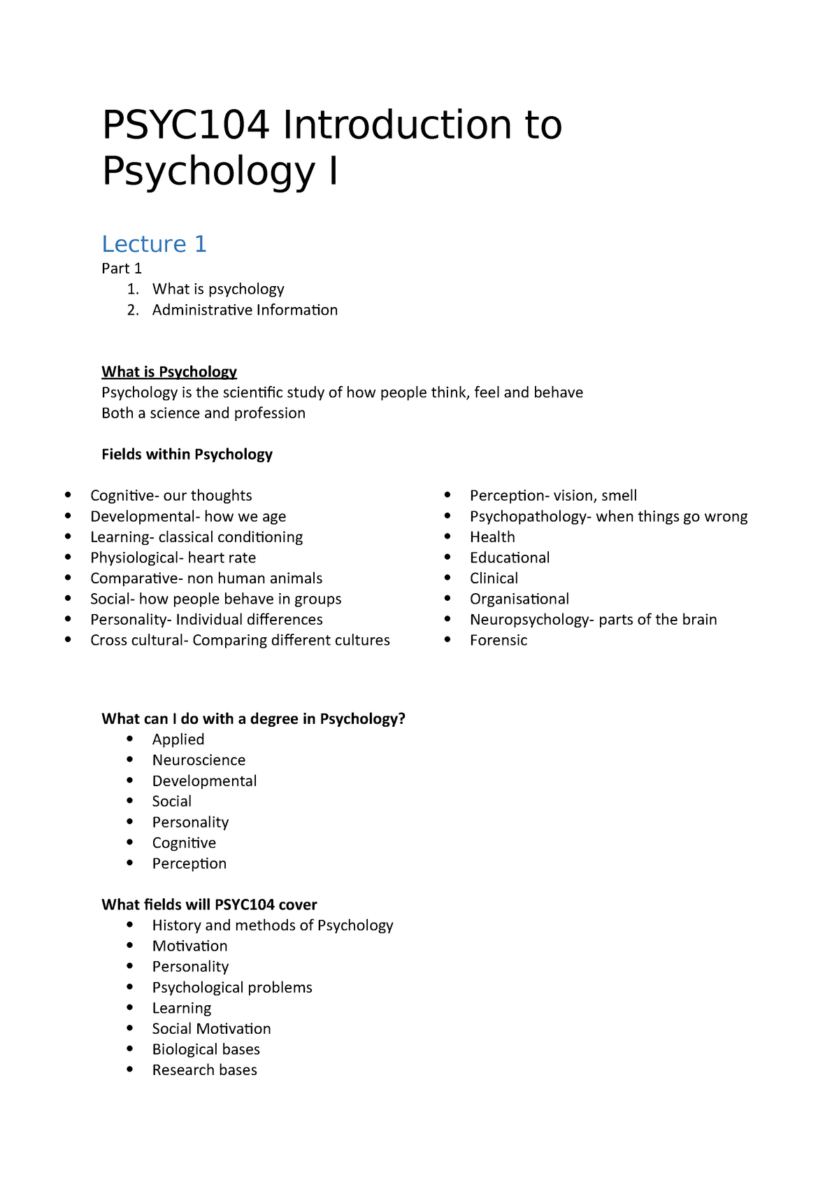 PSYC104 lecture notes - PSYC104: Introduction to Psychology