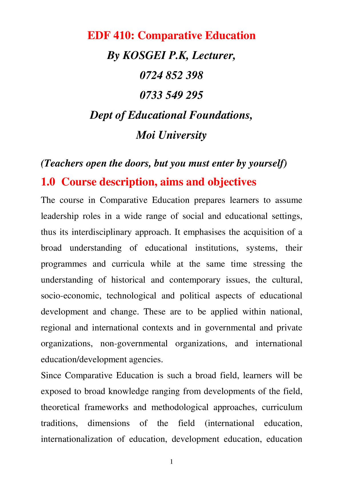 EDF 411 Comparative Education Notes-1-1 - EDB: Education - StuDocu