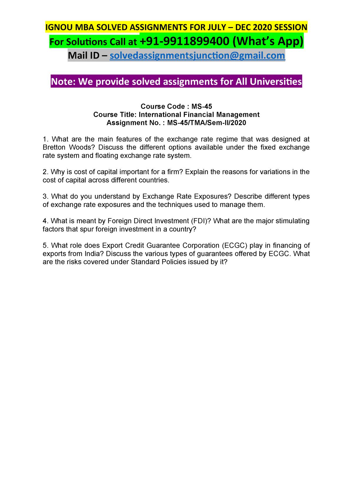 MS45 International Financial Management JULY-DEC2020 - MS-45 - StuDocu