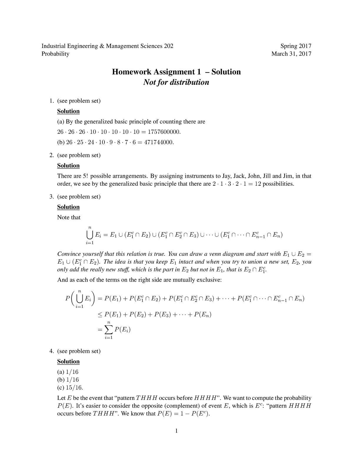 HW1 Sp17 solutions - IEMS 202: Probability - StuDocu