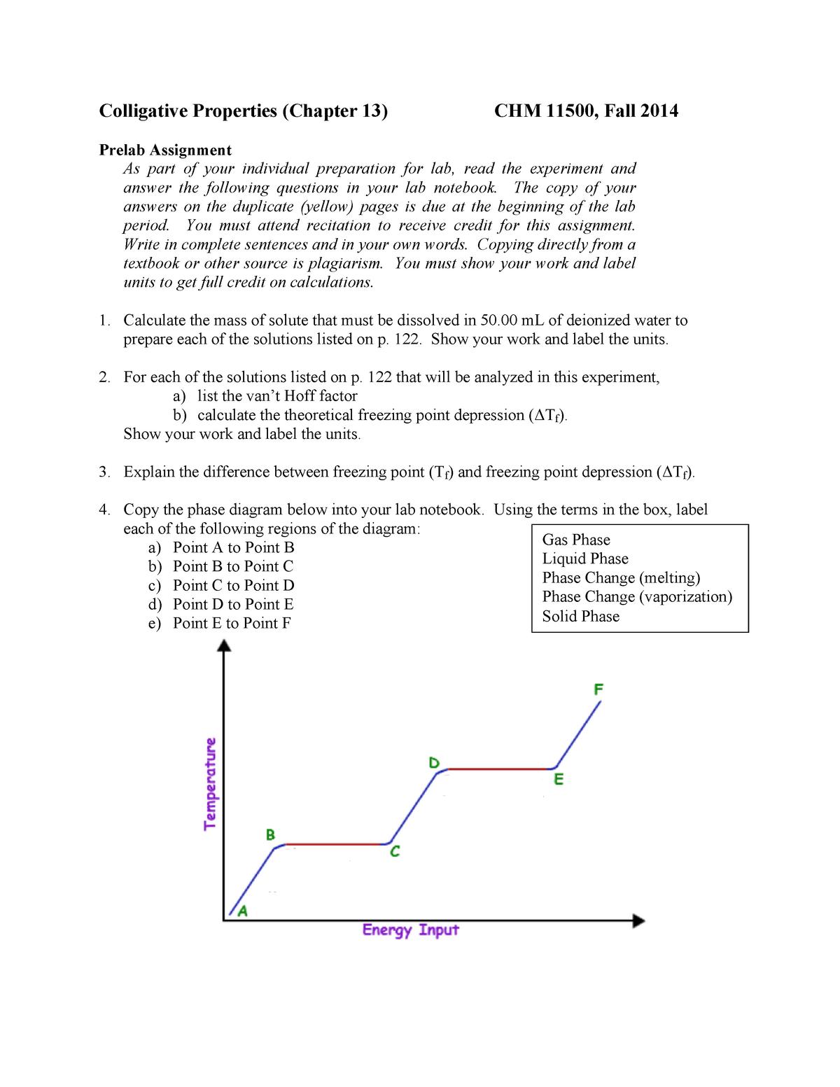 Colligative Properties Prelab - StuDocu