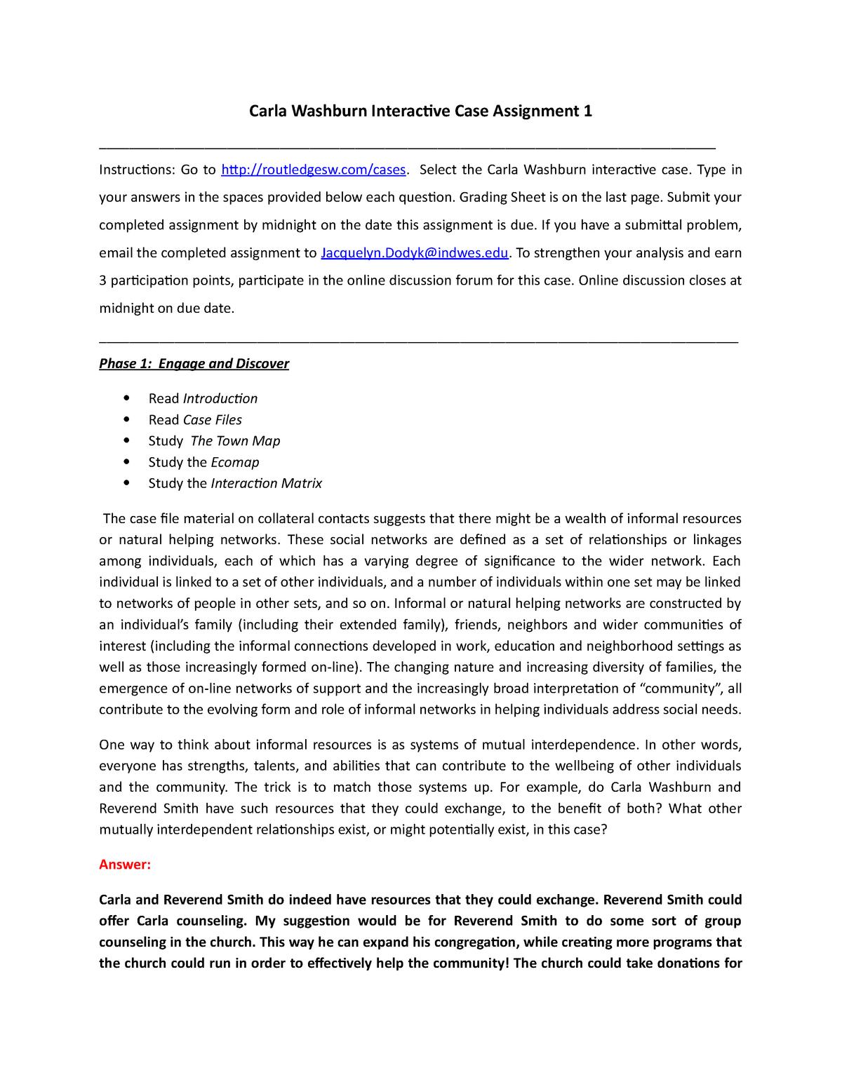 Case 1 - Carla Washburn - Jackie Dodyk - SWK 336: Social Policy