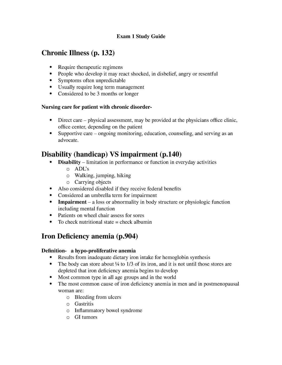 Exam 1 Study Guide - Med-Surg - NUR 3180 - NSU - StuDocu