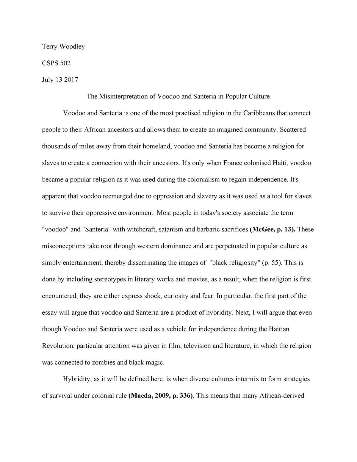 csps essay    the misinterpretation of voodoo and santeria in  csps essay    the misinterpretation of voodoo and santeria in popular  culture   csps  spanish caribbean literature and culture   studocu