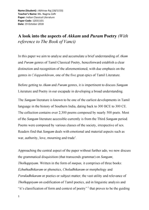 Akkam and Puram Poetry - Notes for Indian Classical Literature