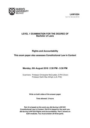 Exam 2018 - LAW5106: Administrative Law - StuDocu
