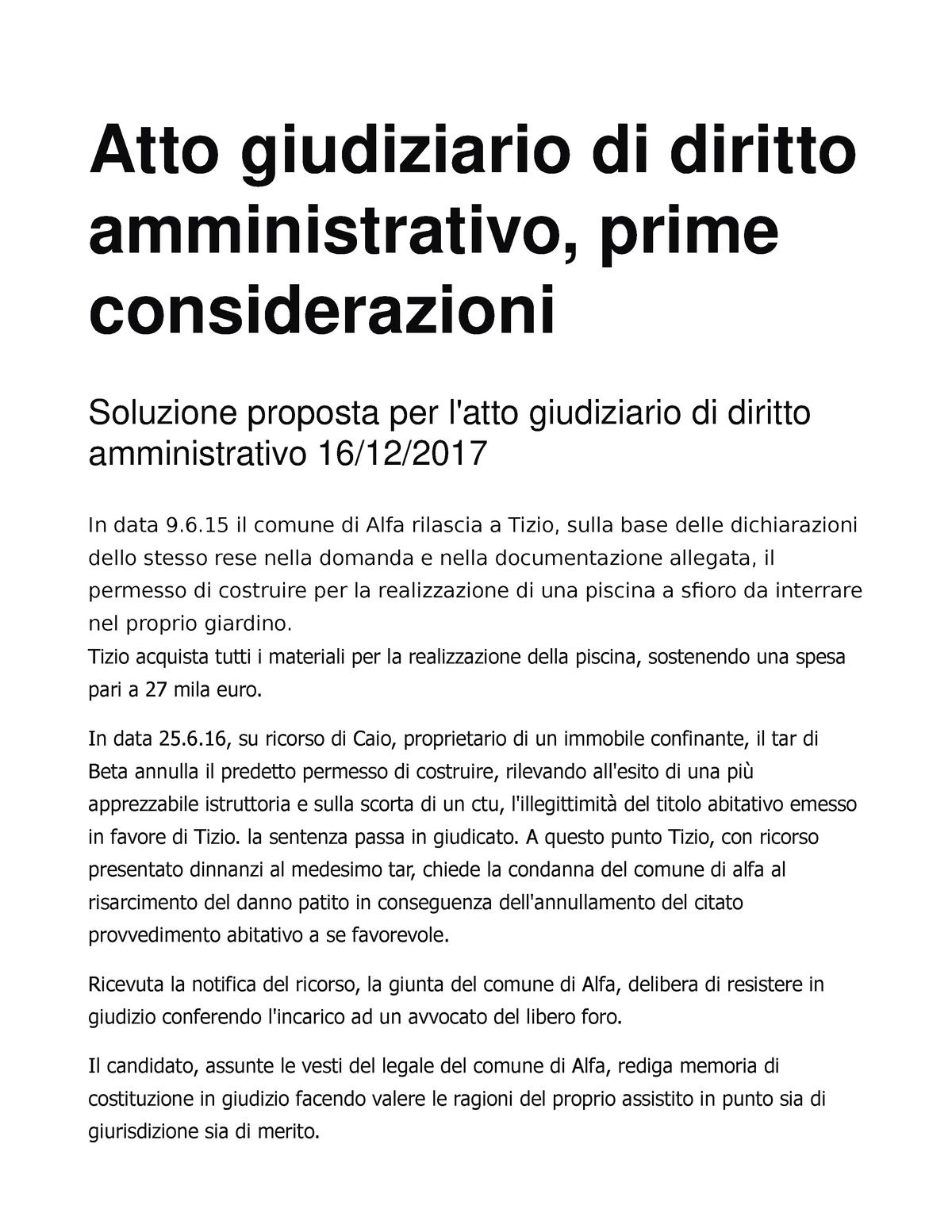 Diritto amministrativo - 00235: Diritto Amministrativo - StuDocu
