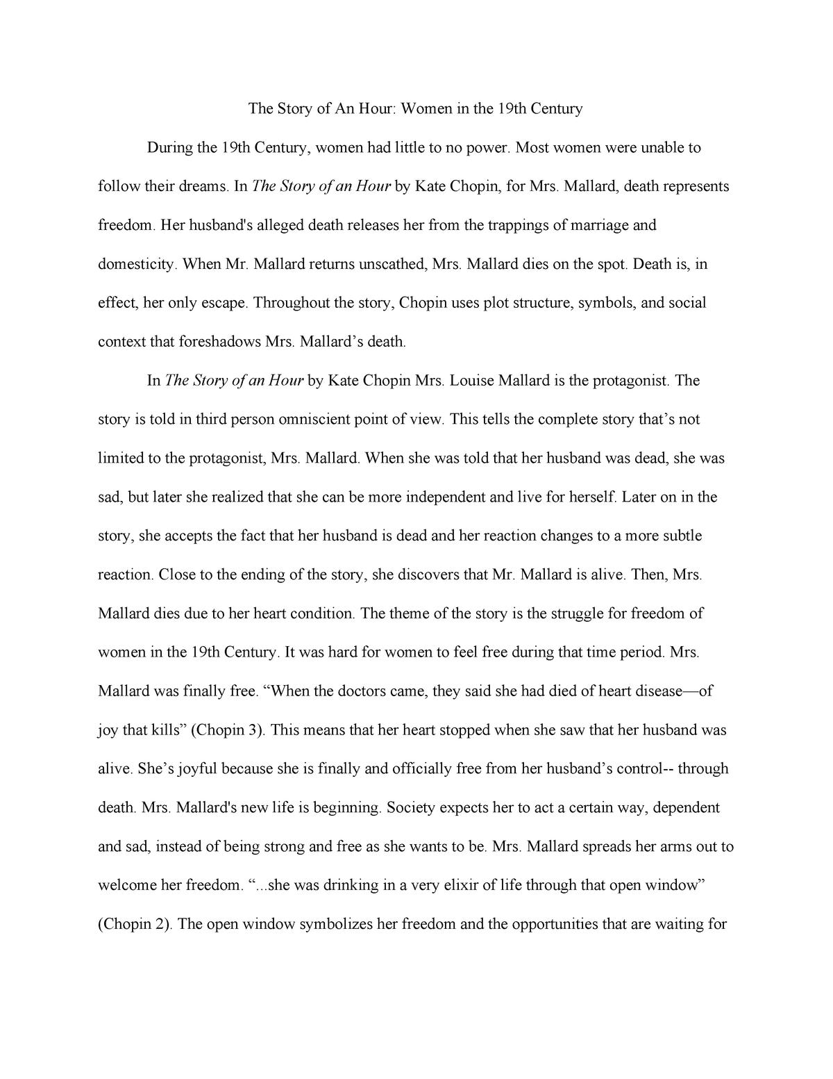 The Story of An Hour Women in the 19th Century - EN 208: Women In