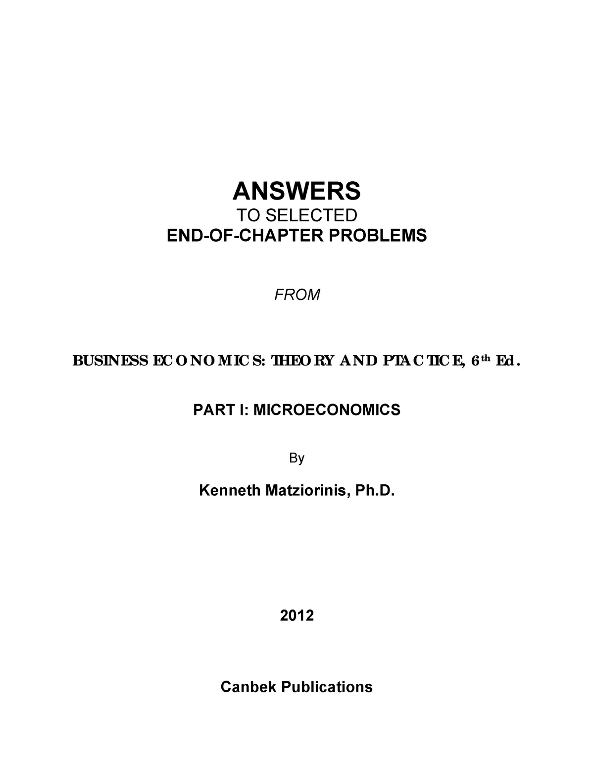 Questions and answers Business Economics - Cec2 532 - McGill