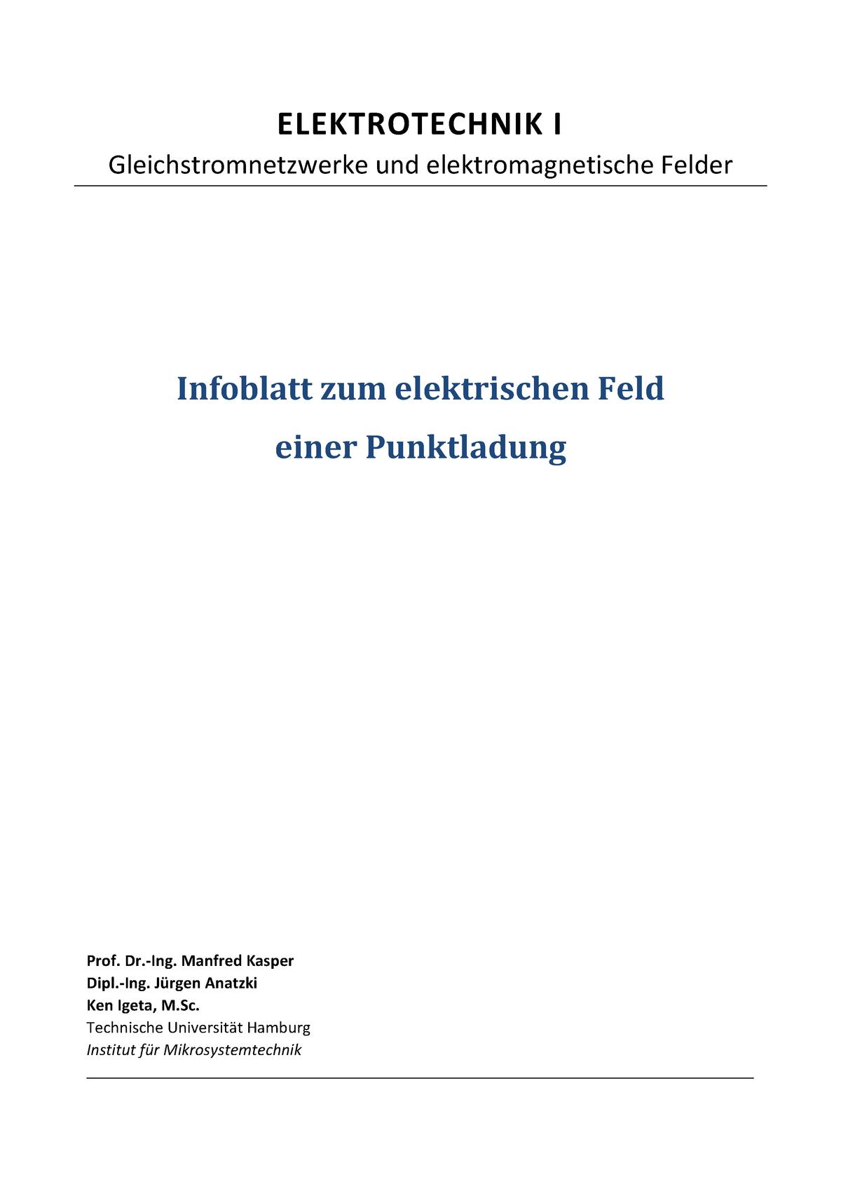 Tuhh Et1 Infoblatt U07 Elektrisches Feld Tu Hamburg Studocu