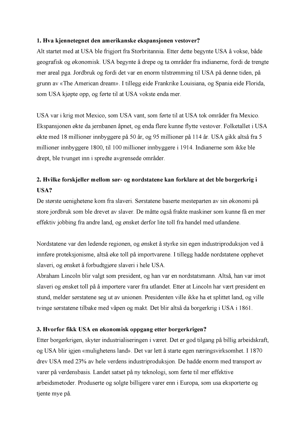 Usa Borgerkrig Hei Historie Vg3 Studocu