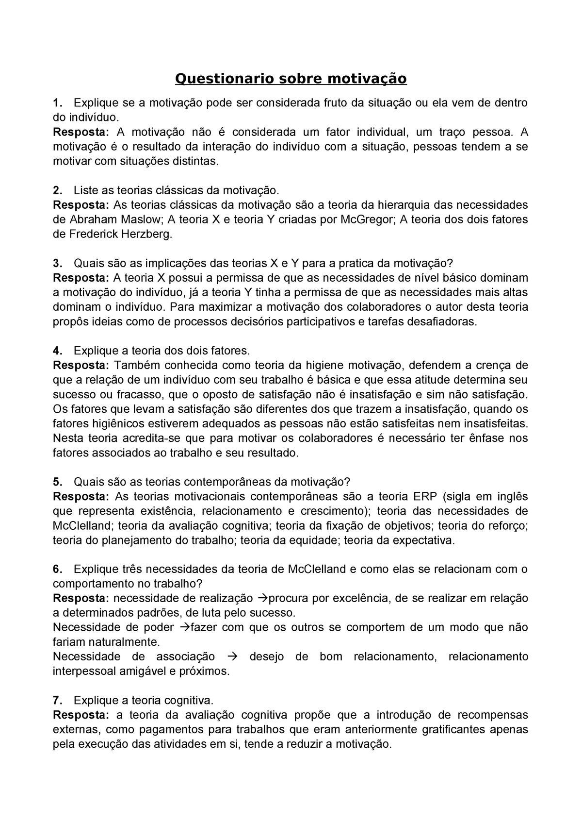 Questionario Sobre Motivação Psicologia Do Trabalho Studocu