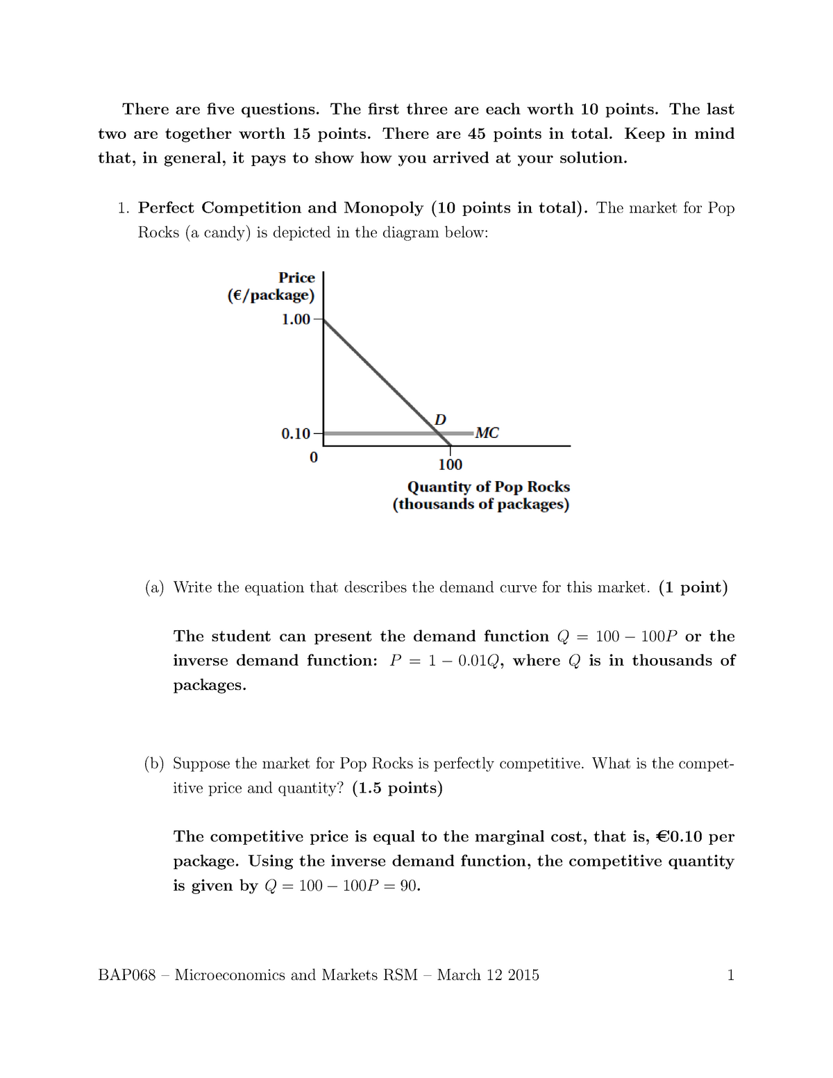 Exam 12 March 2015, questions and answers - BAP068 - EUR