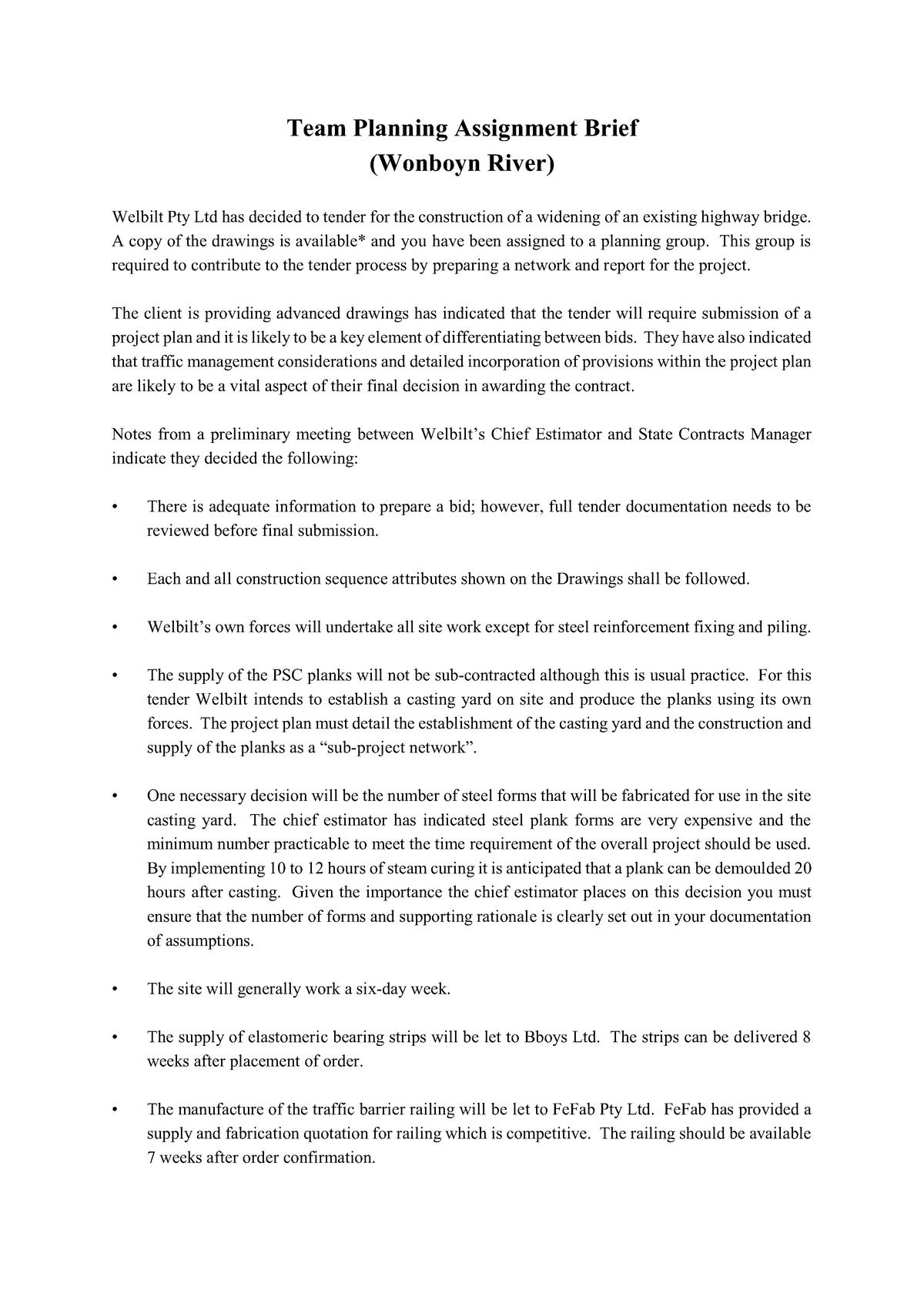 Team Planning Assignment Brief - 048340 : Construction - StuDocu