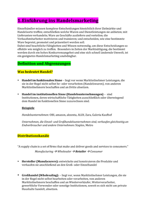 Handelsmarketing - Zusammenfassung Handel - Handelsbetriebslehre