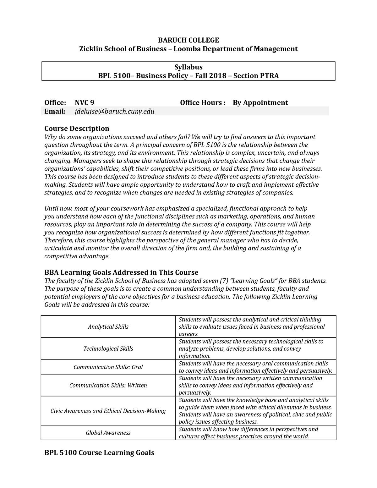 BPL-5100 Fall-2018-Syllabus-Version-B-8-22 (2) (1)(1) - StuDocu