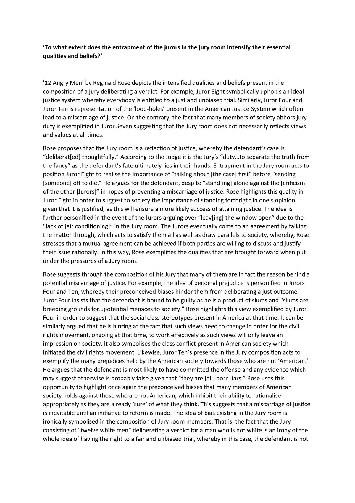12 angry men analysis essay