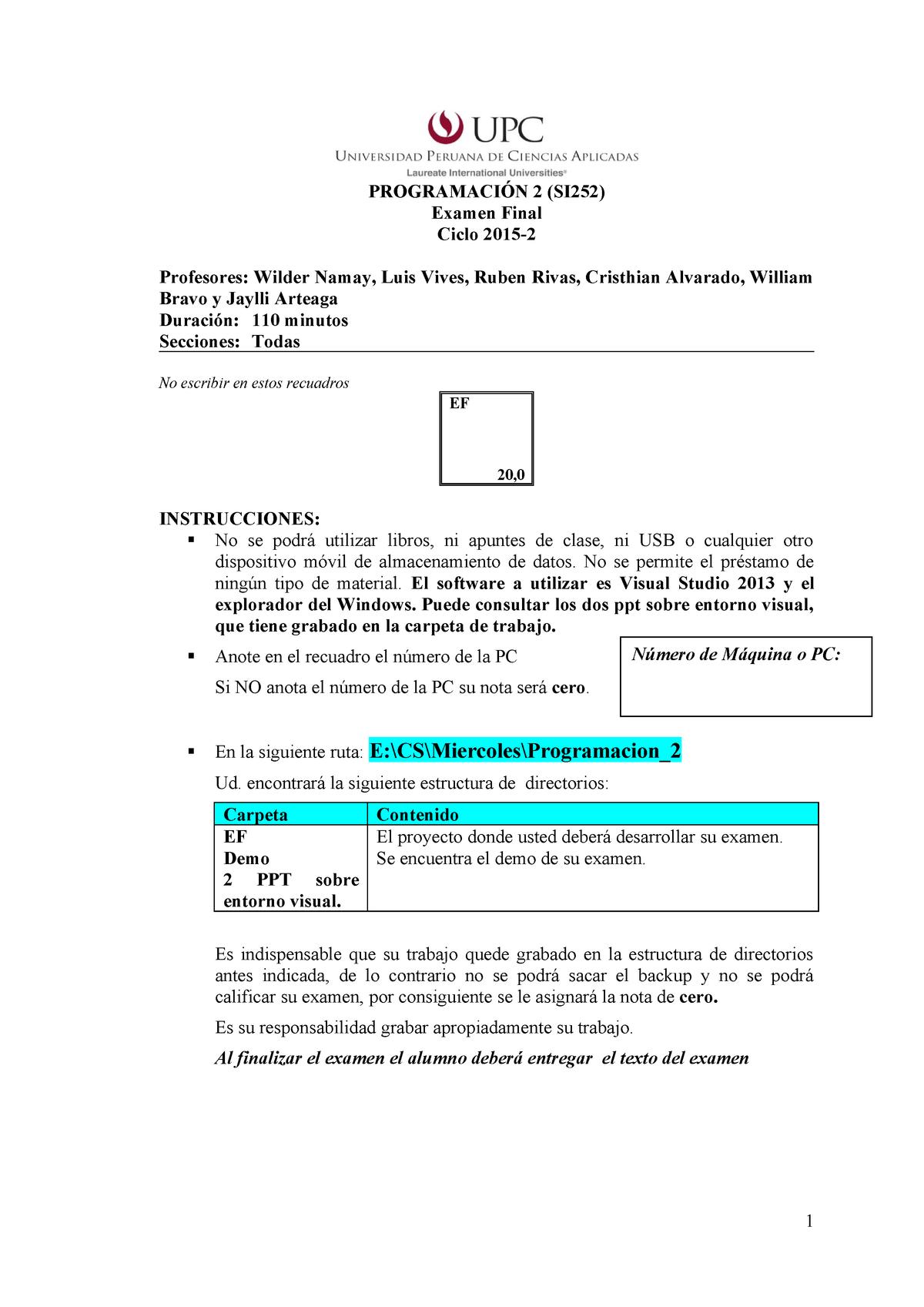 Examen 2015 Preguntas Programacion 2 Cc67 Upc Studocu