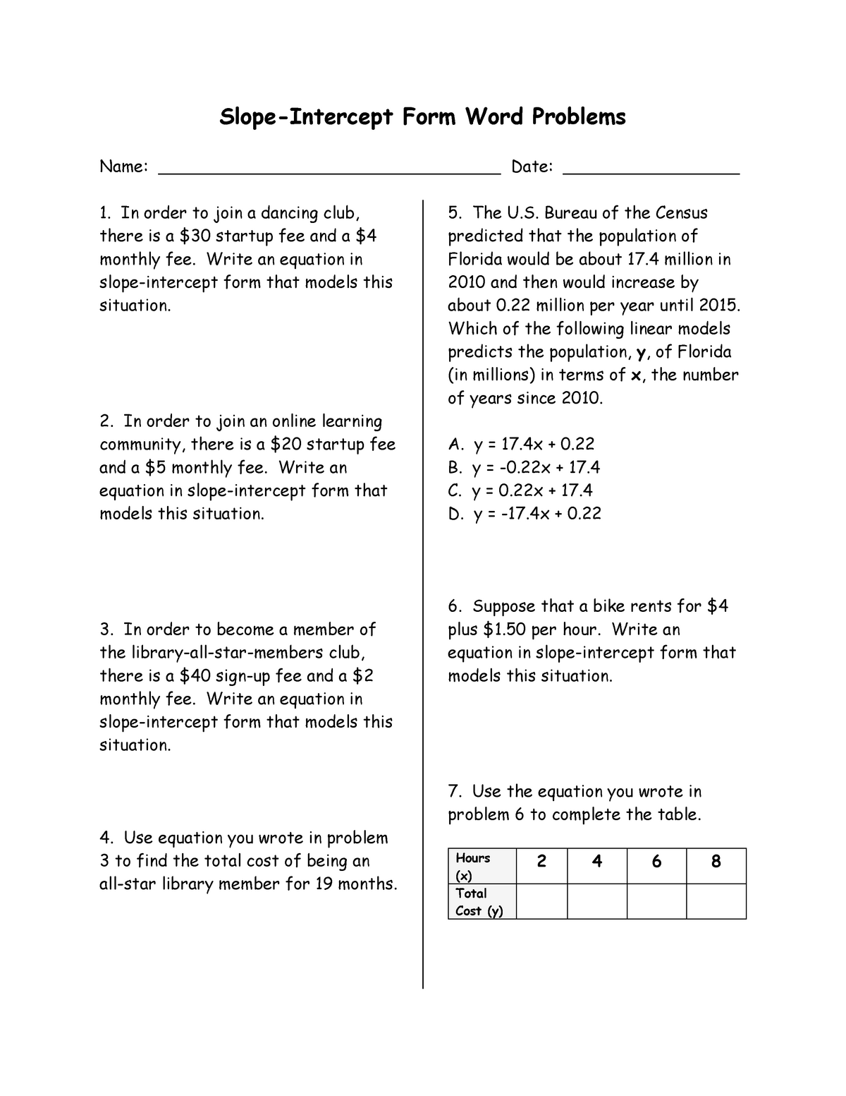 slope intercept form word problems answer key  Slope-Intercept Form Word Problems wkst - Basic Mathematics ...