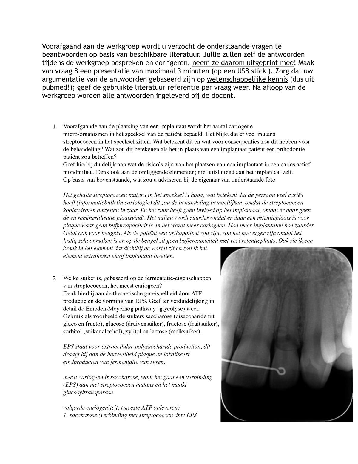 Werkgroep Cariologie Tcario Vu Studocu