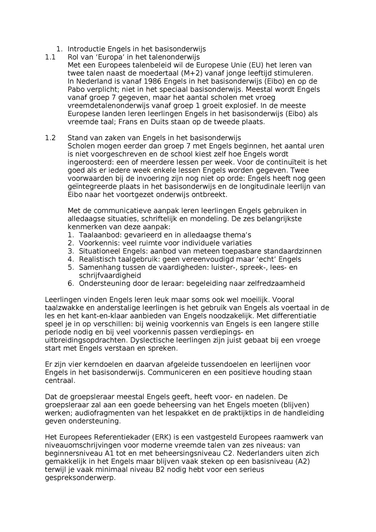 Kenmerken In Het Engels.Samenvatting Engels In Het Basisonderwijs Fontys