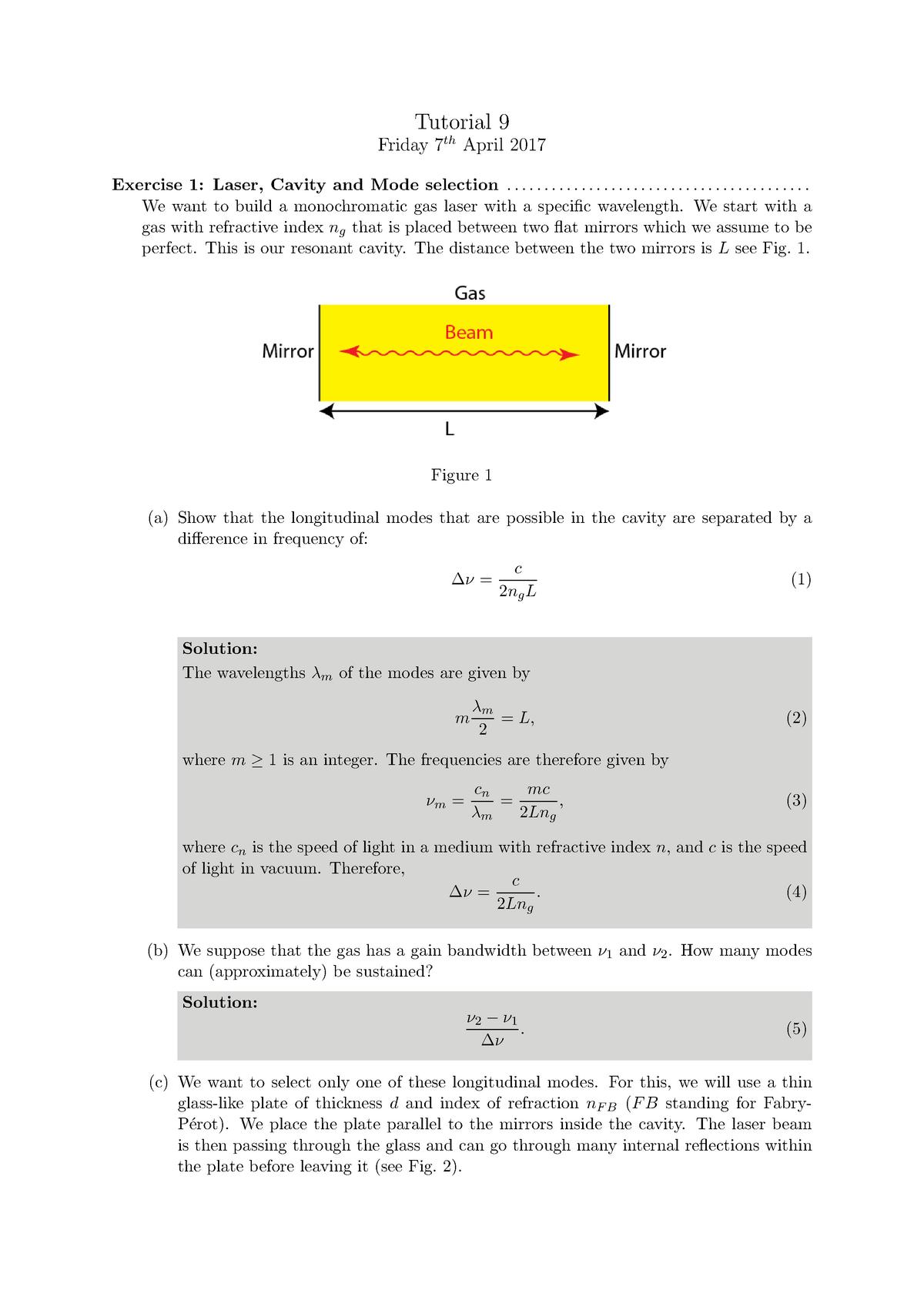 Tutorial 9 Solutions - TN2421: Optica - StuDocu