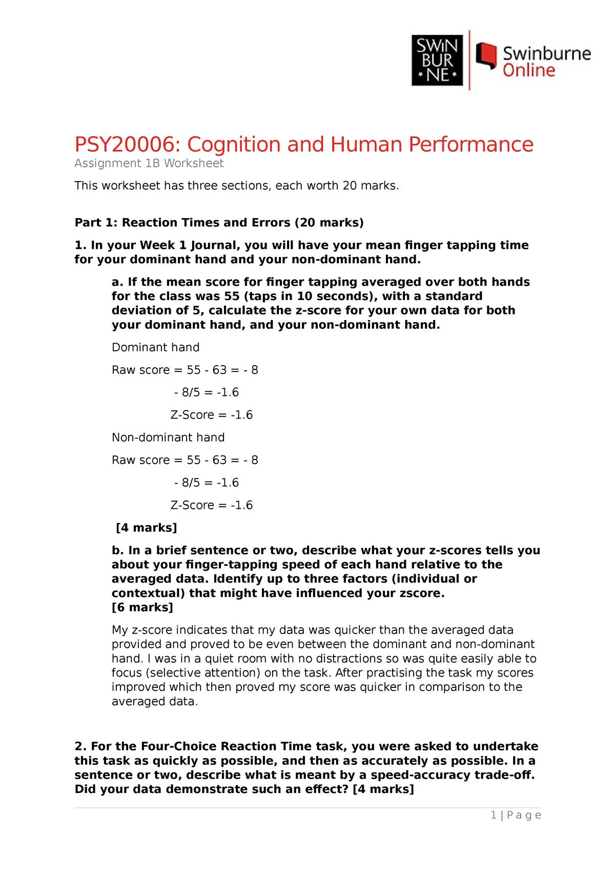 Assignment 24B Worksheet - psy24 - congnition - Swinburne - StuDocu For Z Score Practice Worksheet