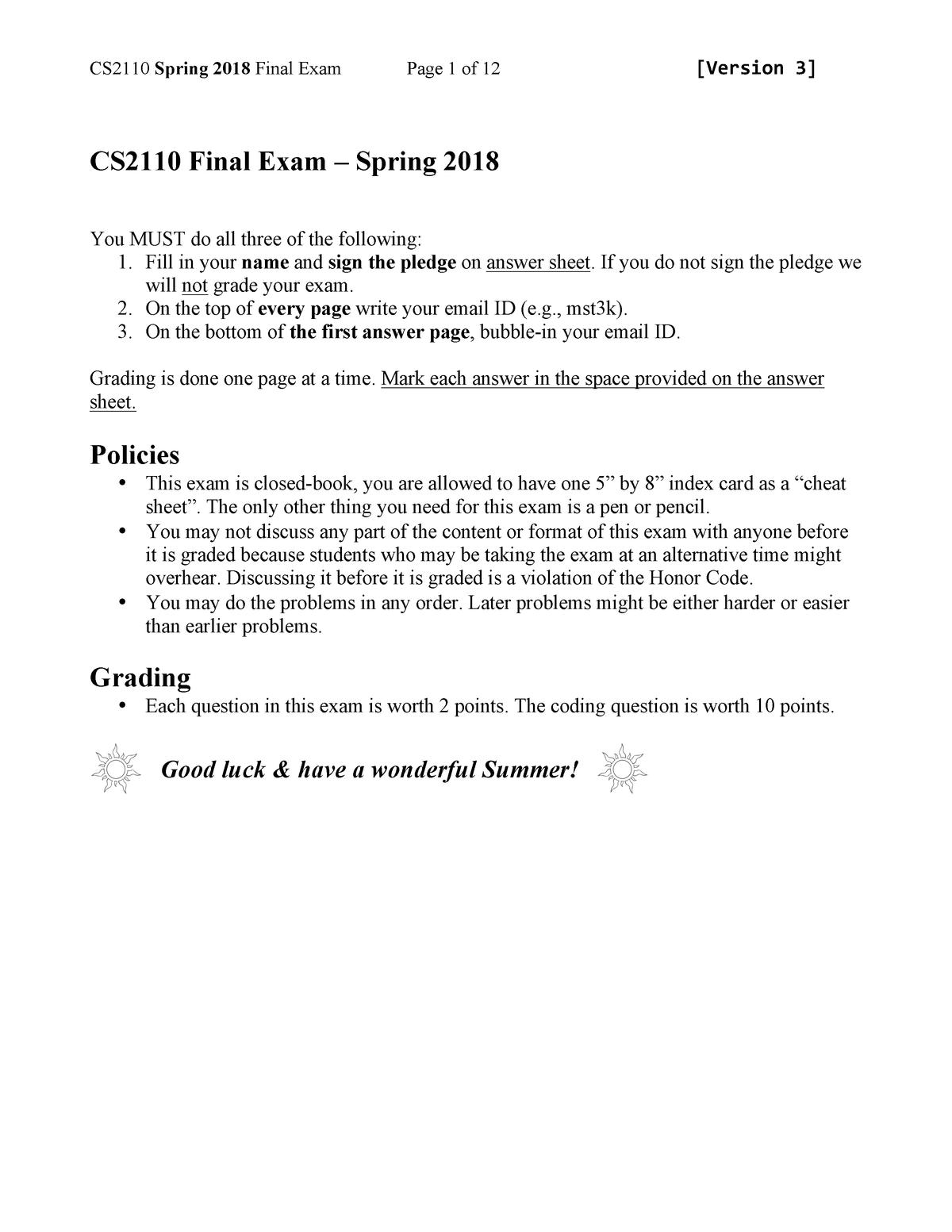 Klausur 2018 - CS 2110: Software Development Methods - StuDocu