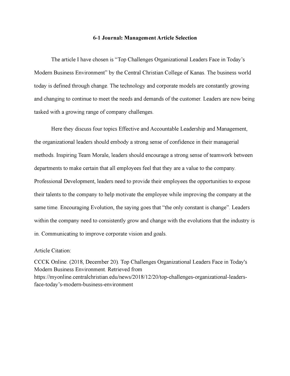 6 1 Journal Management Article Selection Spt200 Snhu Studocu