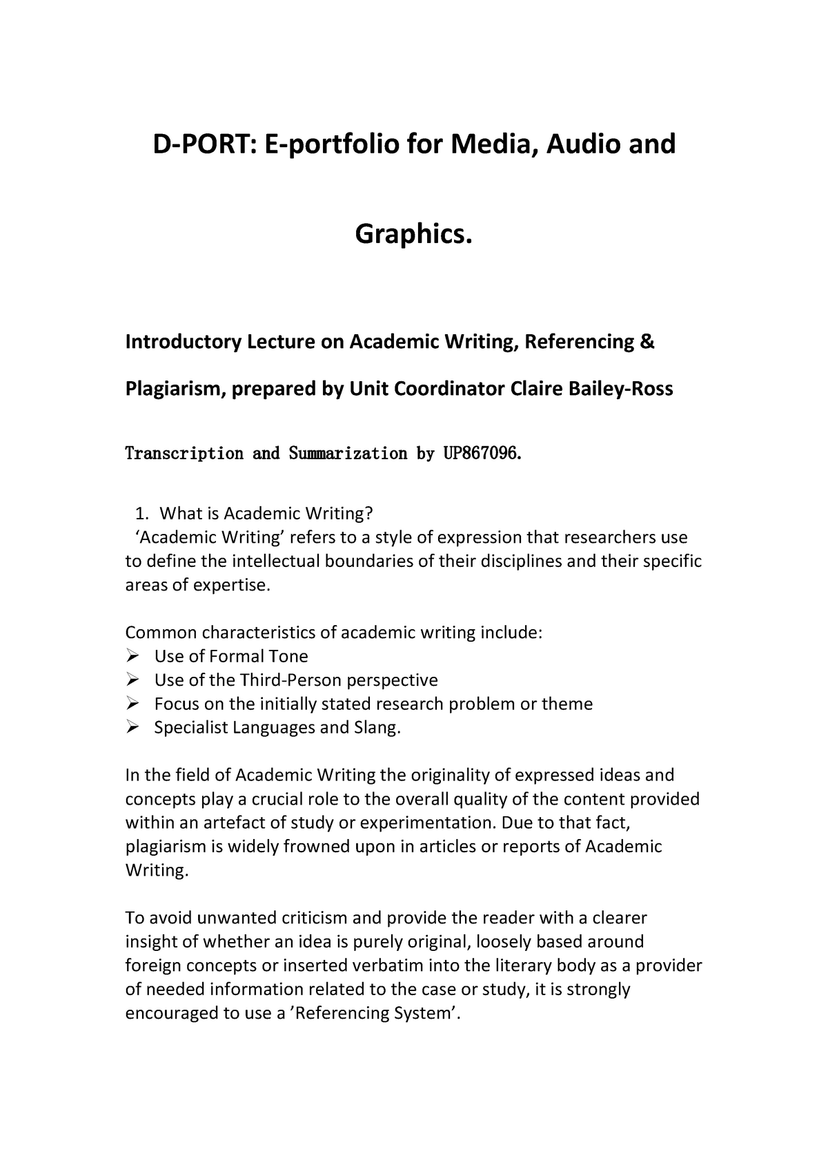 Dport Academic Writing, Referencing & Plagiarism