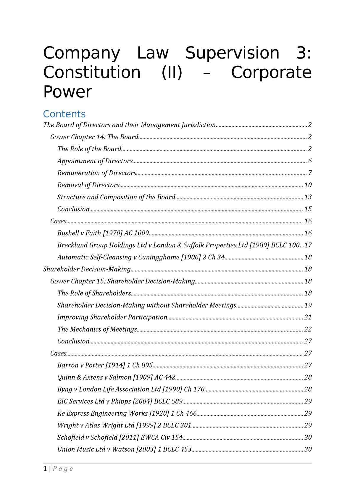 Company Law Supervision 3 Notes - Law L100 - CAM - StuDocu