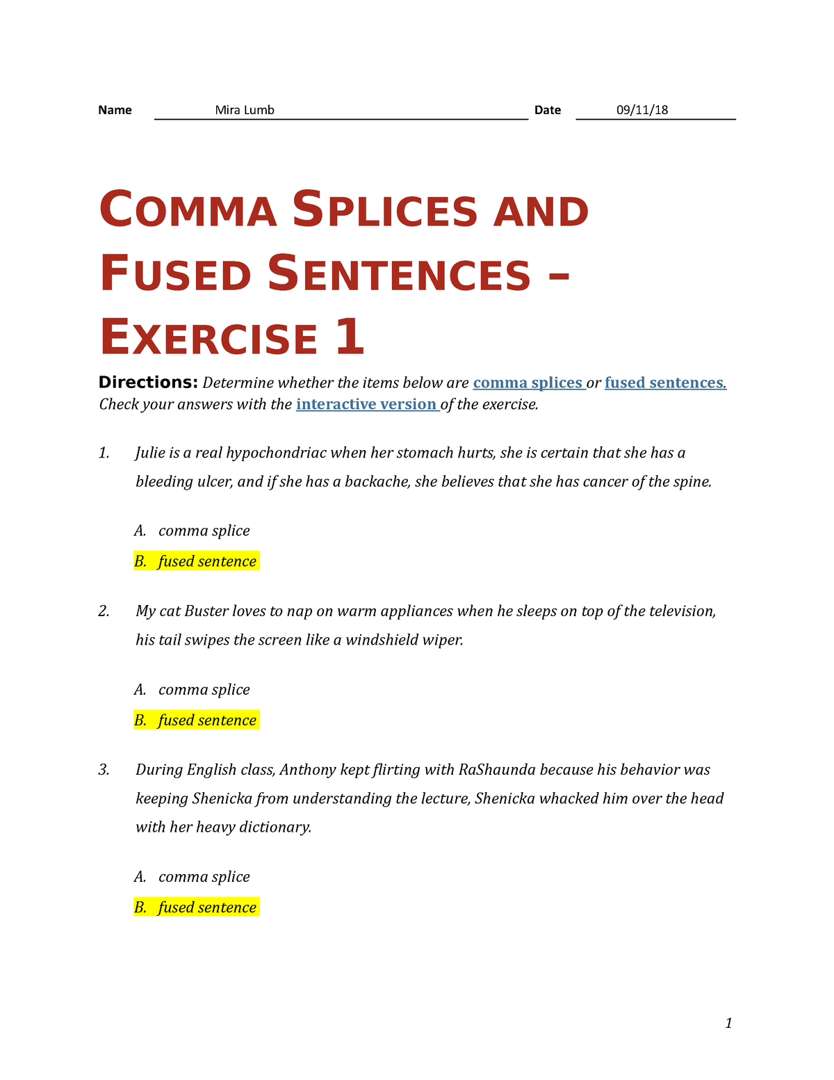 what is a comma splice sentence