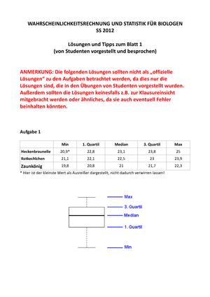 Praktisch - Statistik für Biologen, Lösungen Blatt 1-13 - 11038 ...