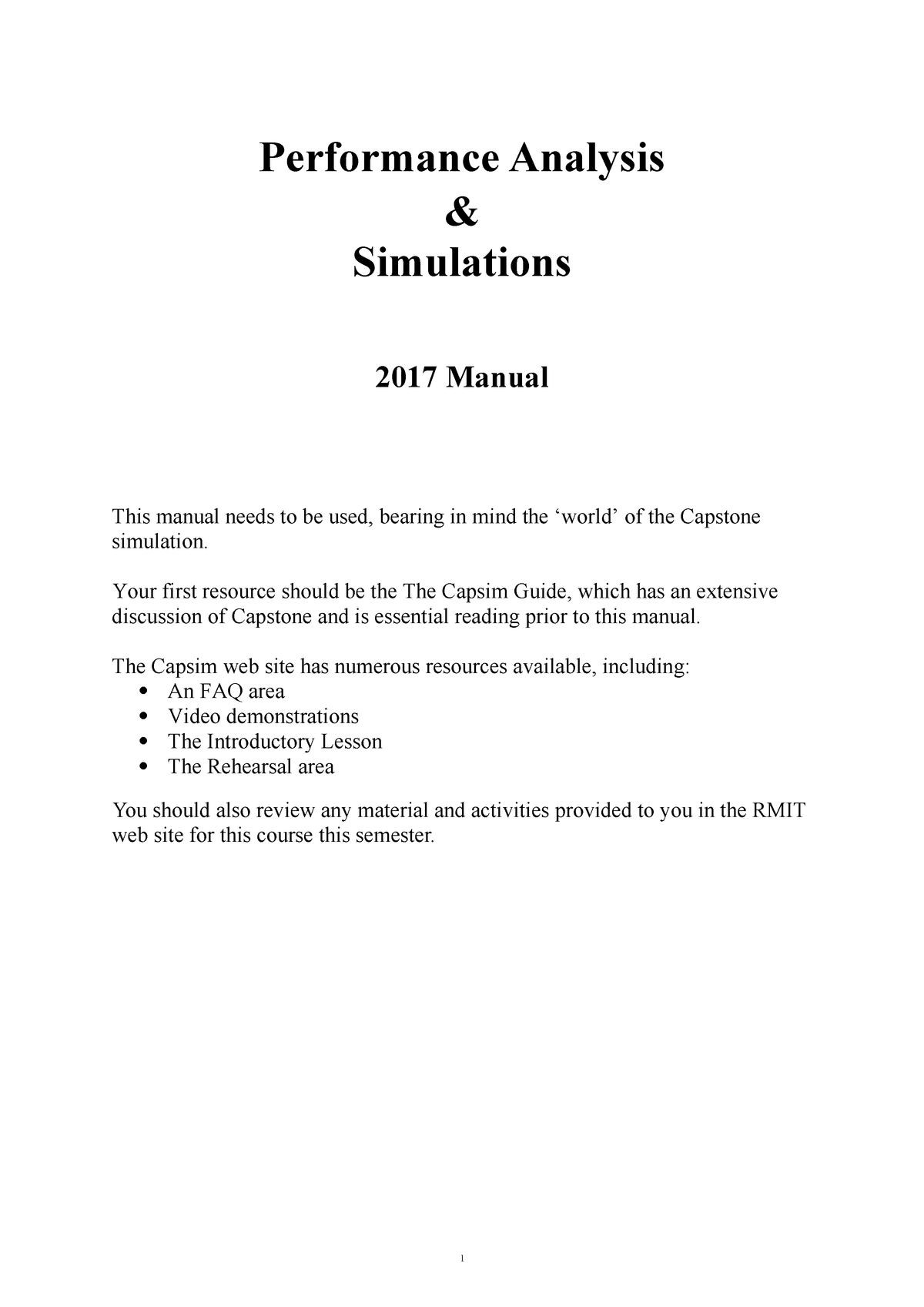 2017 PAS manual - ACCT2170: Performance Analysis and Simulations
