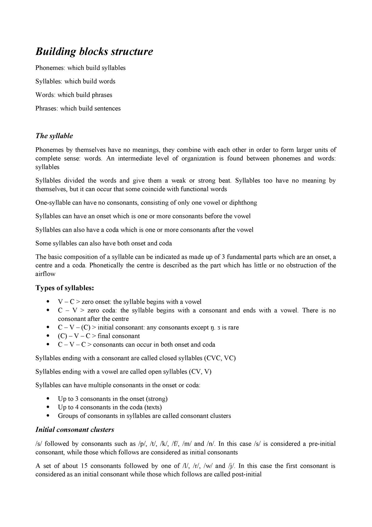 Building blocks structure - 4S002896: English language 1