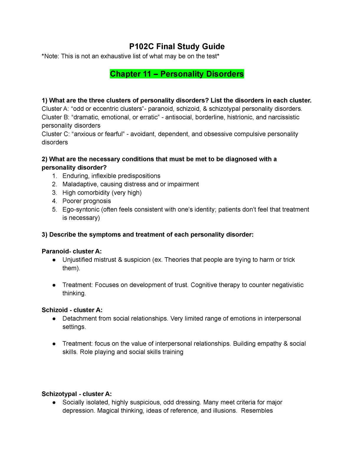 Psy102C Final Study Guide - PSY BEH 102C: Abnormal Psychology - StuDocu