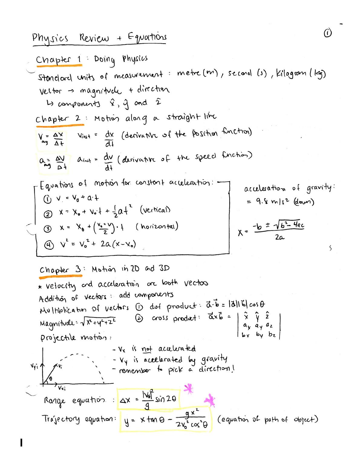 Physics Study Sheets - 1401/2: Physics - StuDocu