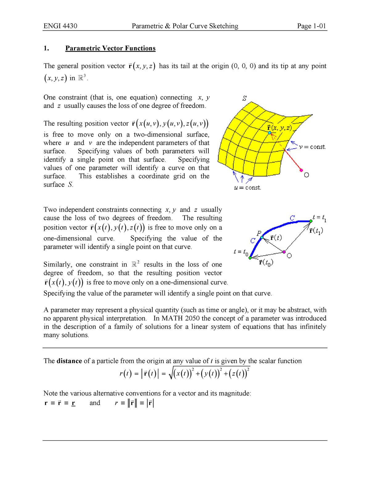 Summary - Parametric vector functions 1 - 7 non-cartesian - StuDocu