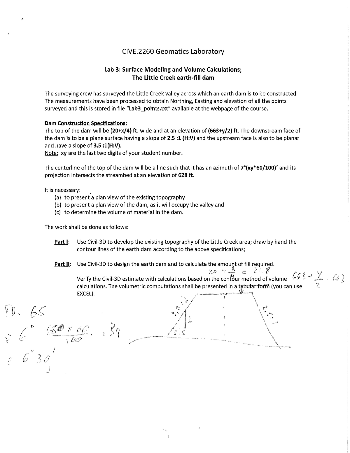 Geomatics Lab 3 - Surface Modeling and Volume Calculations - The