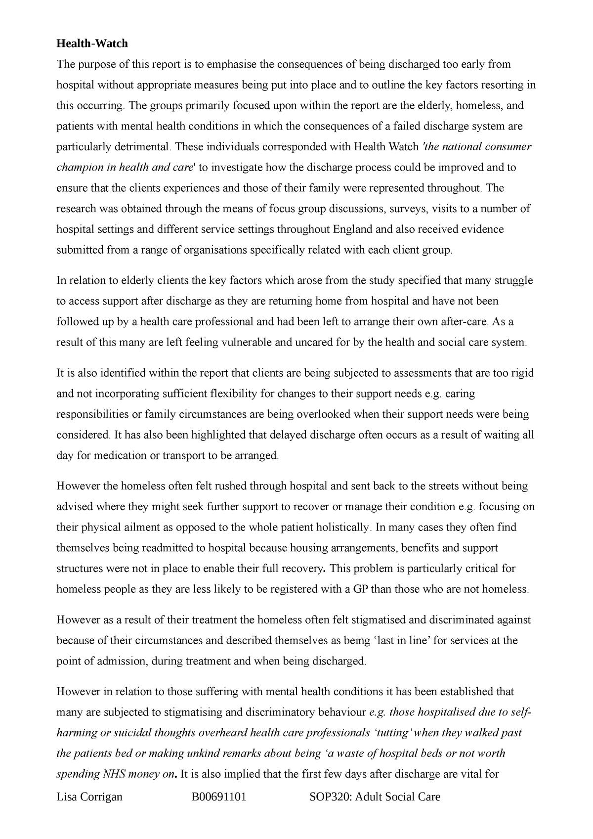 Assignment 2 health watch - SOP320: Adult Social Care - StuDocu