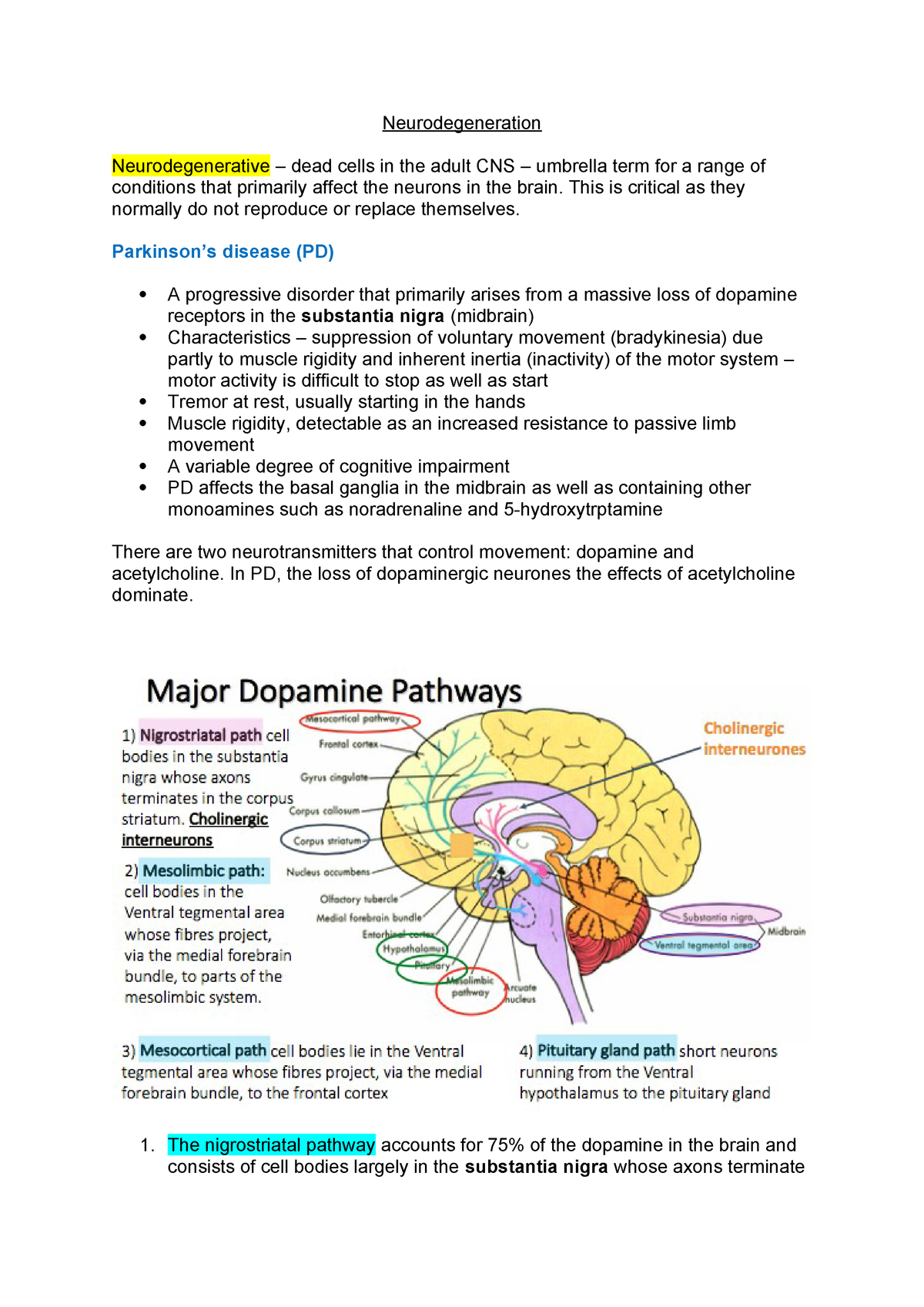 Neurodegeneration - Lecture notes 9 - BMD225 - QMUL - StuDocu