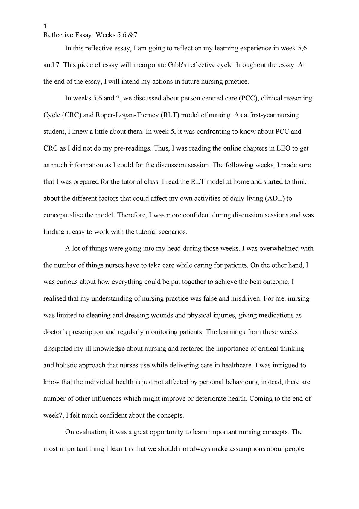 Reflective essay - nrsg137 Nrsg137 - ACU - StuDocu