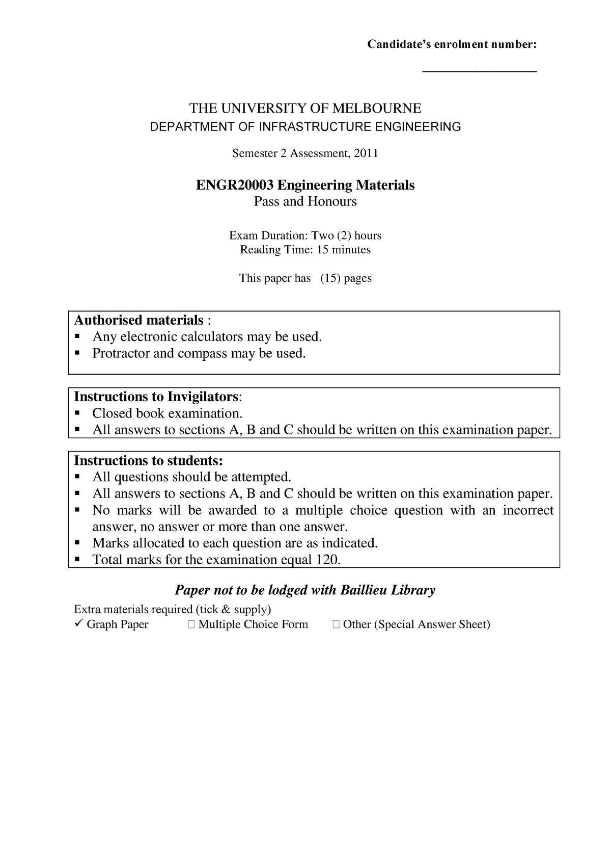 Exam 2011, questions and answers - ENGR20003 - Unimelb - StuDocu