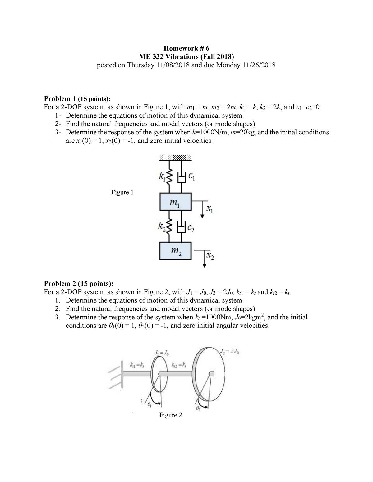 ME332HW06-Abdelkefi - HW 6 - M E 332: Vibrations - StuDocu