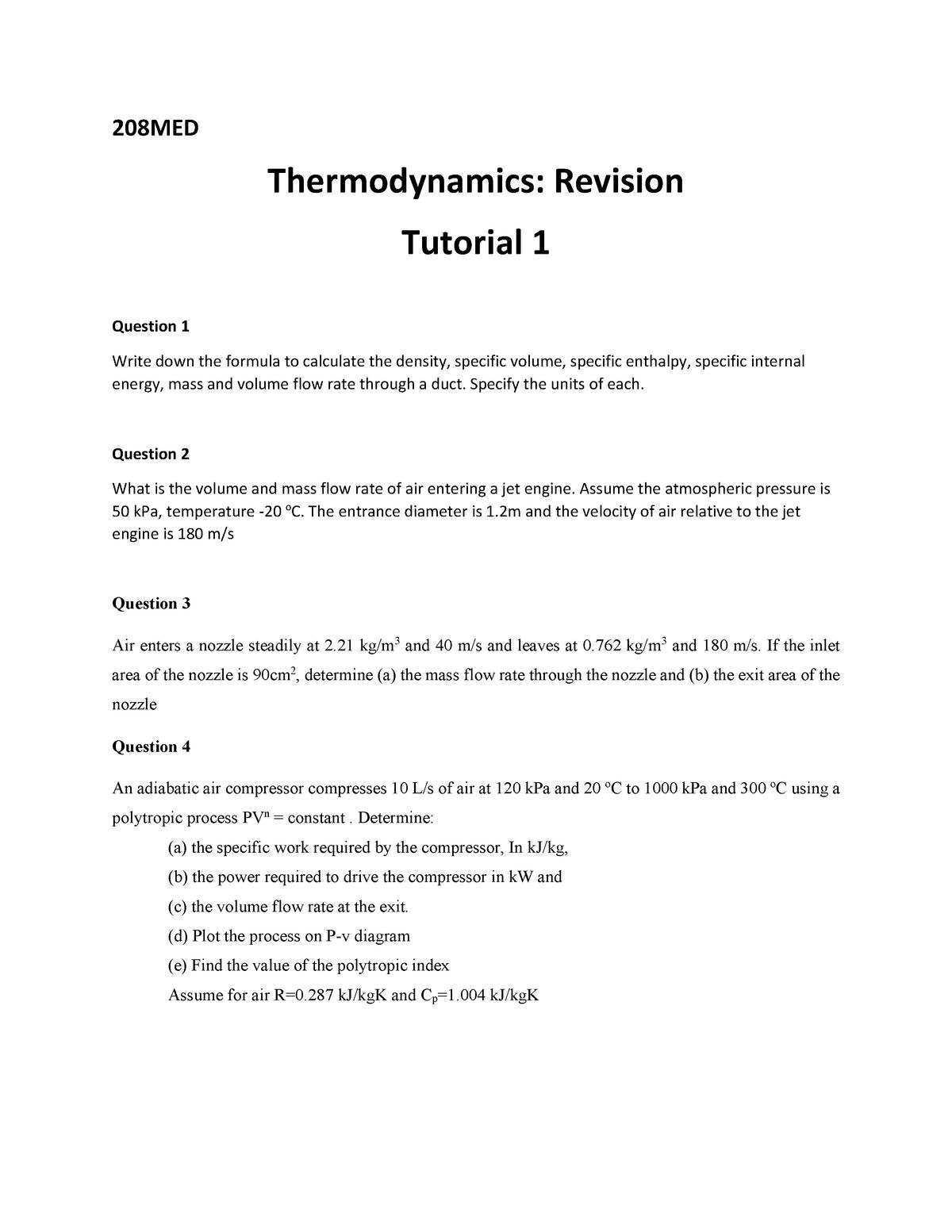 Tutrorial 1 - thermodynamics tutorial week 1 - 208MED