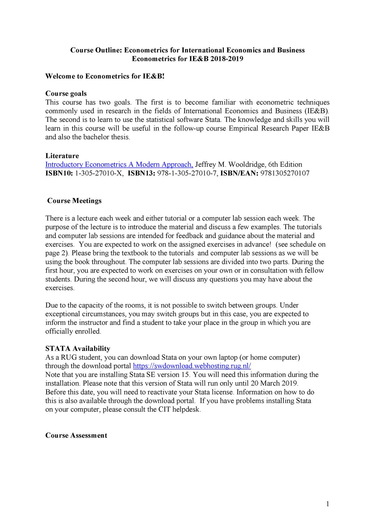 Student Helpdesk Rug.Course Outline Econometrics For Ie B 2018 2019 Ebb070a05