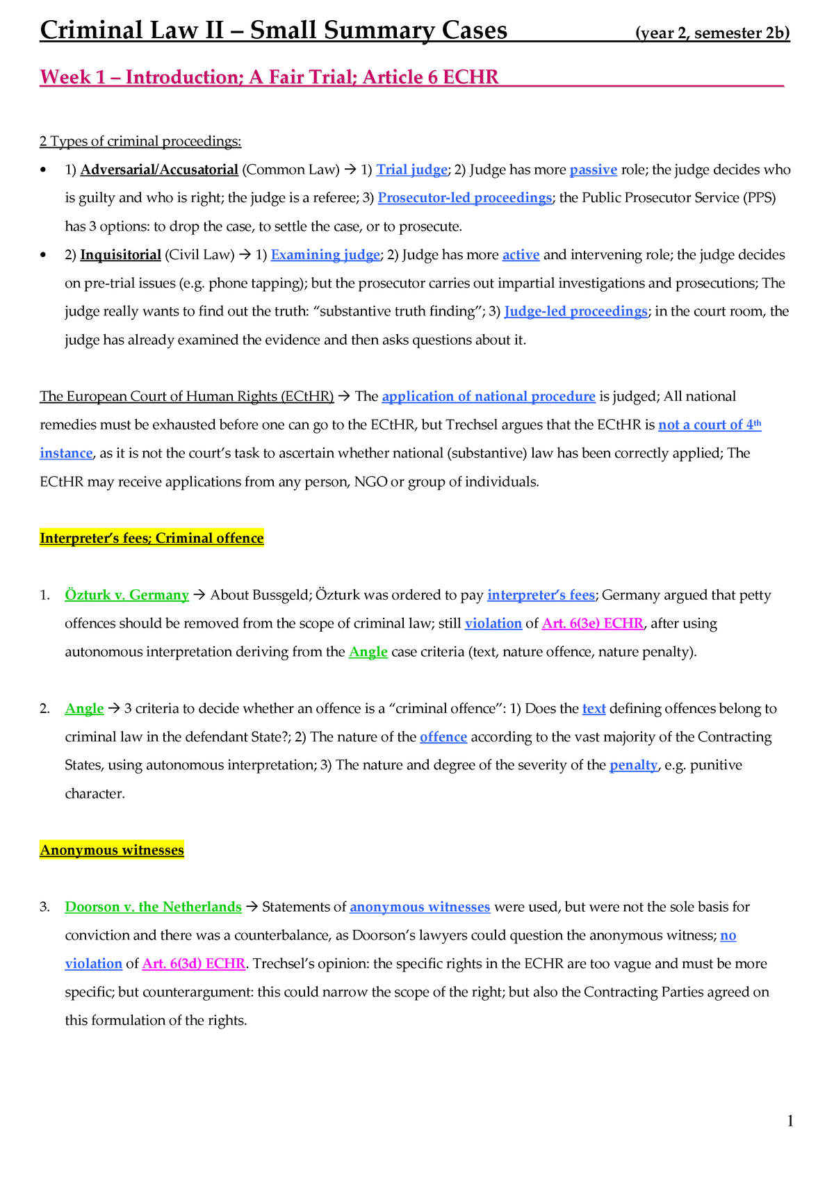 Brief summary of the judgments (English)  - RGBSR00107: Strafrecht 2