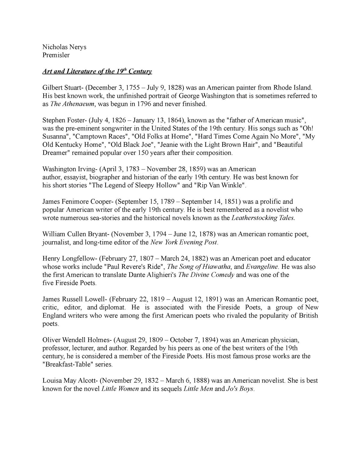 American Literature of the 19th Century - POL 1101: American